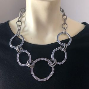 Funky silver and blue necklace